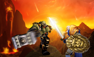 Orgrim Doomhammer Vs. Anduin Lothar by RexGetarum