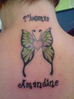 Heart-shaped butterfly tattoo by Tristana-Gray