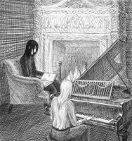 Evening by the fireplace by Diavell