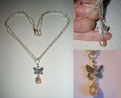 Pearl butterfly necklace by tears-of-eternity
