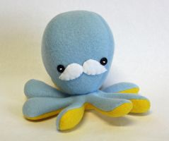 Light blue octopus plush with mustache by jaynedanger