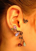 Set of ear cuffs hematite wire flowers and leaves by jhammerberg