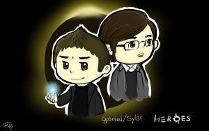 Commission Gab and Sylar Back by SaerwenApsenniel