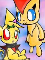 Chily And Victini by Pikastar90