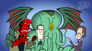 Tea with Cthulhu and Hellboy by Moon-manUnit-42