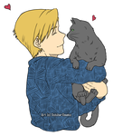 Alphonse Elric plus kitten by Uchiha-Umeko
