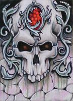 ATC: Jewelled Gothic Skull by catbones
