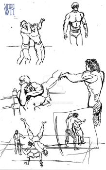 Wrestlers Sketches by SimonWM