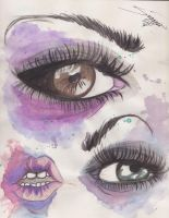 eyes and lips water color by CapnSavy