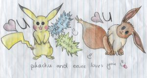 113) Pikachu and Eevee sketch :P by Magicull-Delesia