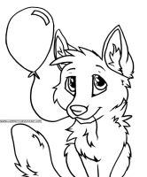 Balloon Puppy Free Lineart by lakemutt