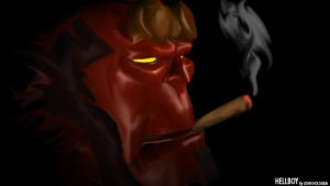 HELLBOY SMOKES CIGARS by johnnyBgood007