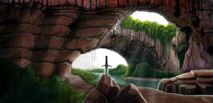 Sword in the Stone Landscape by TOMAHAWK-DRAGON