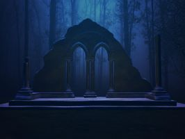 Fantasy Arches Blue Stock by Moonchilde-Stock
