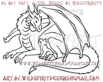Dragon And Wolf Pup Lineart by WildSpiritWolf
