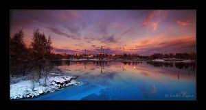 Moonrise panorama by Behindmyblueeyes
