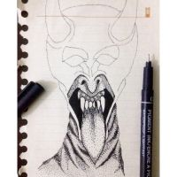 Devil ( Pointilism )  by yazdaadibrokha