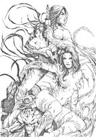 darkness and witchblade by Cross4