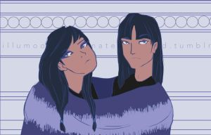 Twins In a Big Sweater by LittleMsArtsy