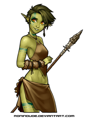 Daily Drawing 5-5-2016 Half-Orc Girl by RoninDude
