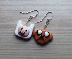 Finn and Jake Earrings by naga-kkw87