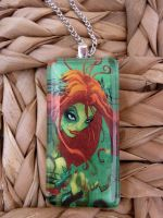 Batman Poison Ivy Glass Pendan by bluepigdesigns