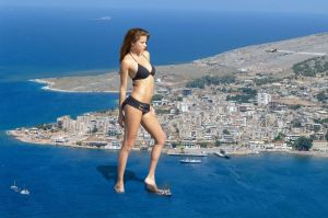 Adriana Lima sinks ships in Albania by Accasbel
