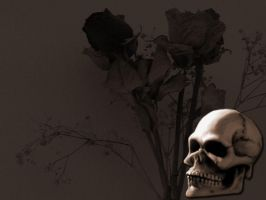 'Painted' Skull with Flowers by SnafuGuy