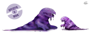 Grimer and Muk by Libertades