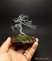 Large windswept wire bonsai tree by Ken To by KenToArt
