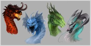 Dragon heads by Allagar