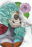 Day of the dead coloured by DarkAmiRose