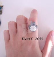 Totoro polymer clay ring by elvira-creations