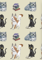 Cat+Book Background in action by Uw0