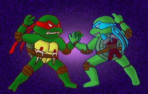 Raph and Leo-tokkumiai- by koju327