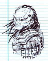 Predator Head Sketch by TPollockJR