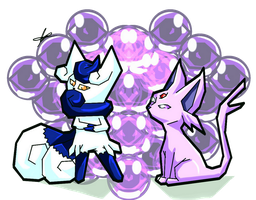 badass psycic cat pokemon Meowstic and espeon by spartical-7
