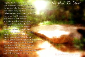 No Need To Shout Visual Poem by meljoy68
