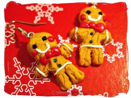 Gingerbread Man Cookie Earrings by Cateaclysmic