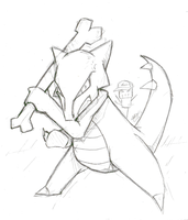 Daily Sketch 155: TRAINER RZ sent out MAROWAK! by ReluctantZombie