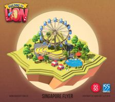 Building the Lion - Singapore Flyer by nigelhimself