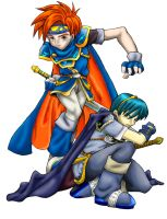 Marth and Roy by SerebrineyDrakon
