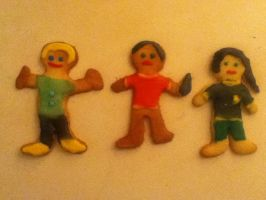 Katniss, Peeta and Haymitch Cookies by themadmuggle