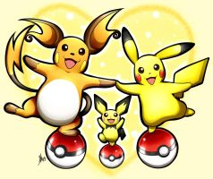 PIchu, Pikachu, and Raichu by Smudgeandfrank