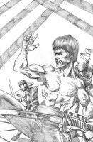 Bruce Lee Vs Ninjas PENCILS-Commission by RudyVasquez