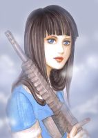 dolly girl with gun in smoke by Verric