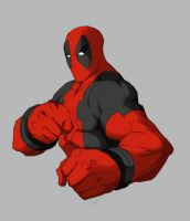 deadpool sketch colored by Anny-D