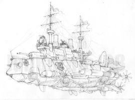 Bulky, flying pre-dreadnought by JanBoruta