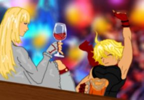 French wine and German beer by Shadow-Harvest