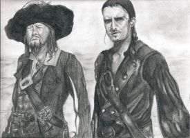 Barbossa and Will at Sea by artistkitty88